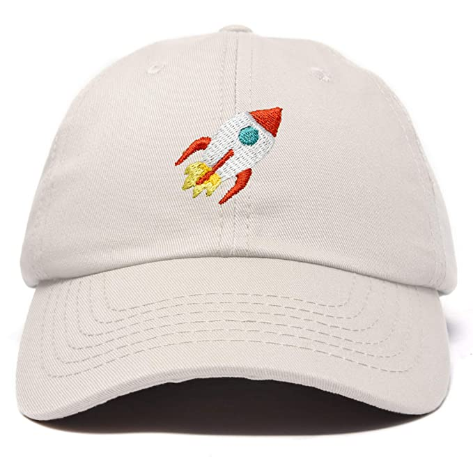 f5094b755de91 DALIX Rocket Hat Space Dad Caps Embroidered Cap Cotton Hats NASA in Beige