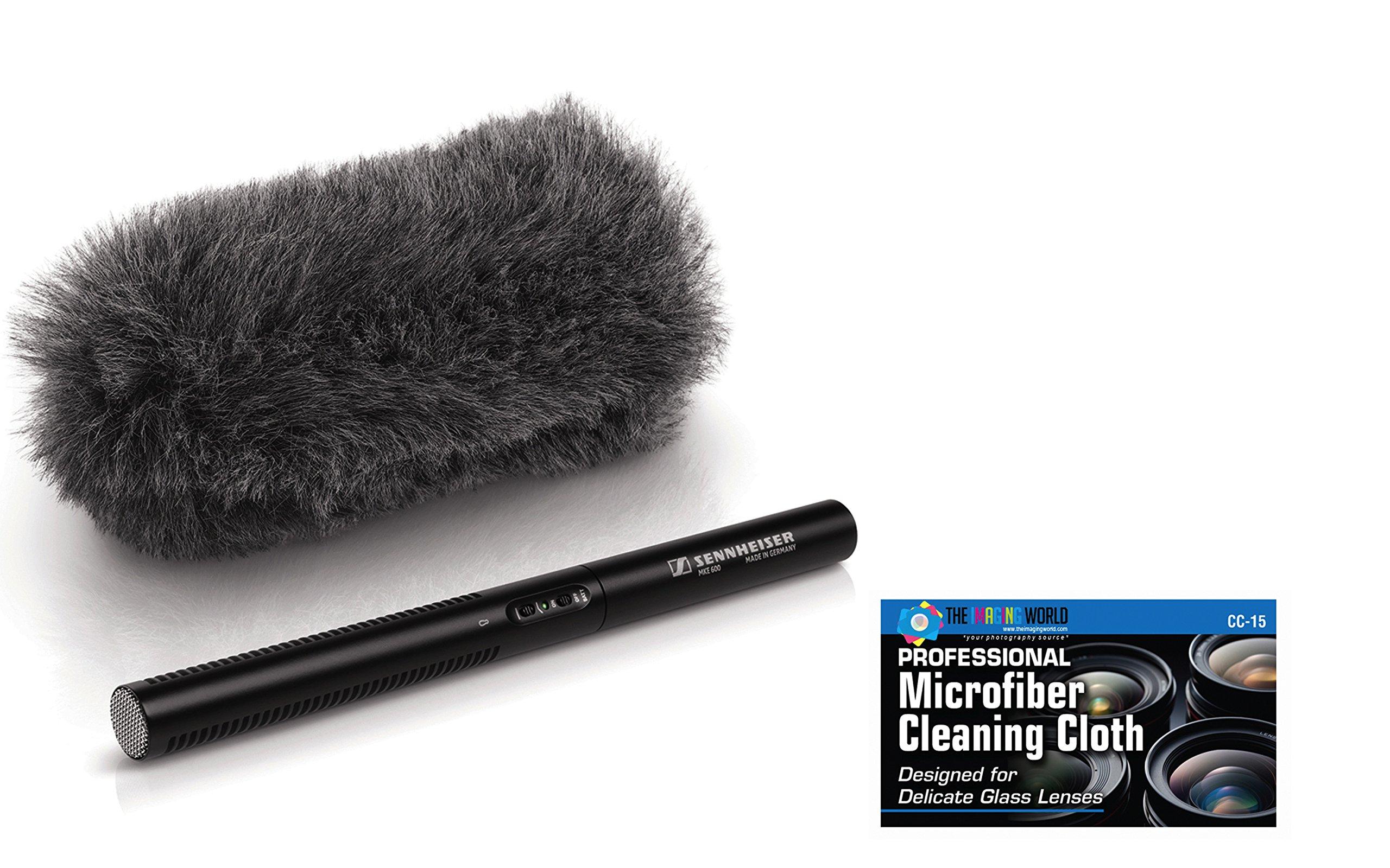 Sennheiser MKE 600 Shotgun Microphone + Sennheiser Sennheiser MZH 600 Windshield + ''The Imaging World'' Camera and Lens Cleaning Cloth