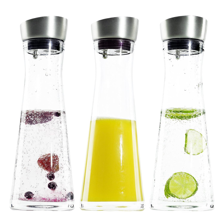 Suleno/® Wasserkaraffe 1l Sofia mit K/ühlelement Glasflasche Glaskanne K/ühlkaraffe 4 h Edelstahl Wasserflasche mit K/ühlung