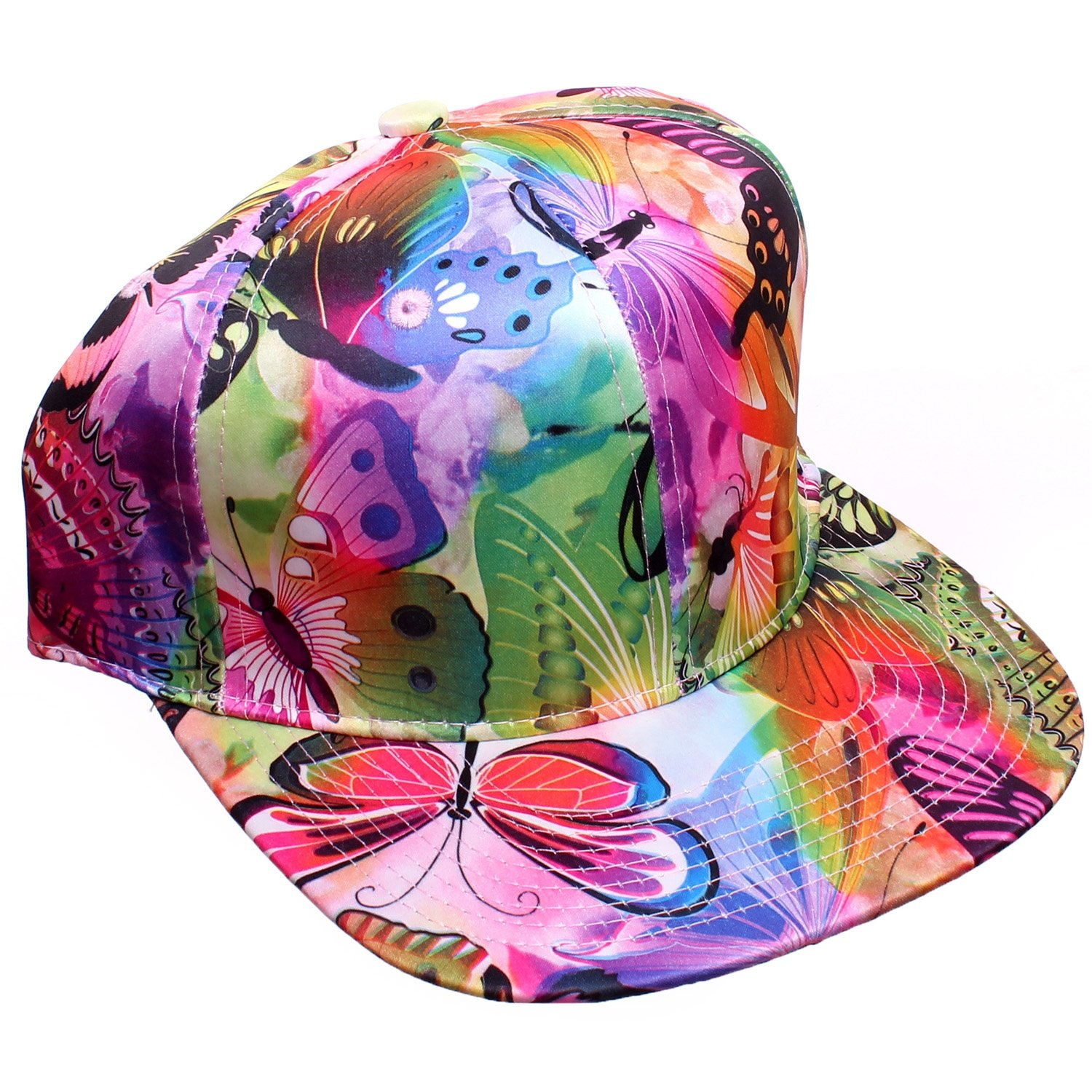 Pink & Green Dream Forest Butterfly Print Snapback Baseball Cap