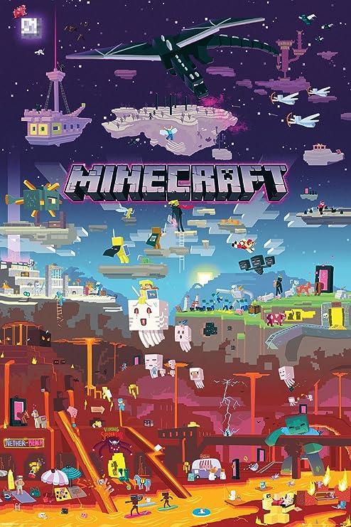 GB Eye Minecraft, Welt Außerhalb Maxi-Poster, Mehrfarbig