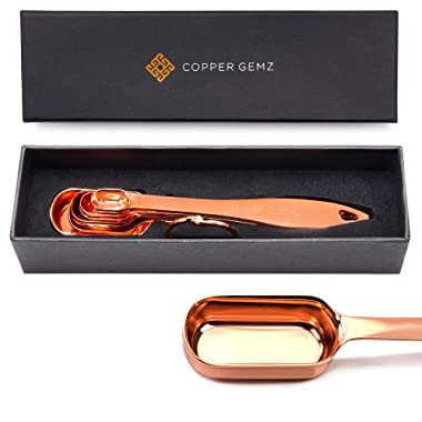 Copper Measuring Spoons - GIFT SET of 6. PROVEN GIFT IDEA for Women or Men for Christmas. Classy Gift Packaging, Superior Quality, Sturdy, Unique. Copper Gifts. Rose Gold Gifts. Anniversary, Wedding
