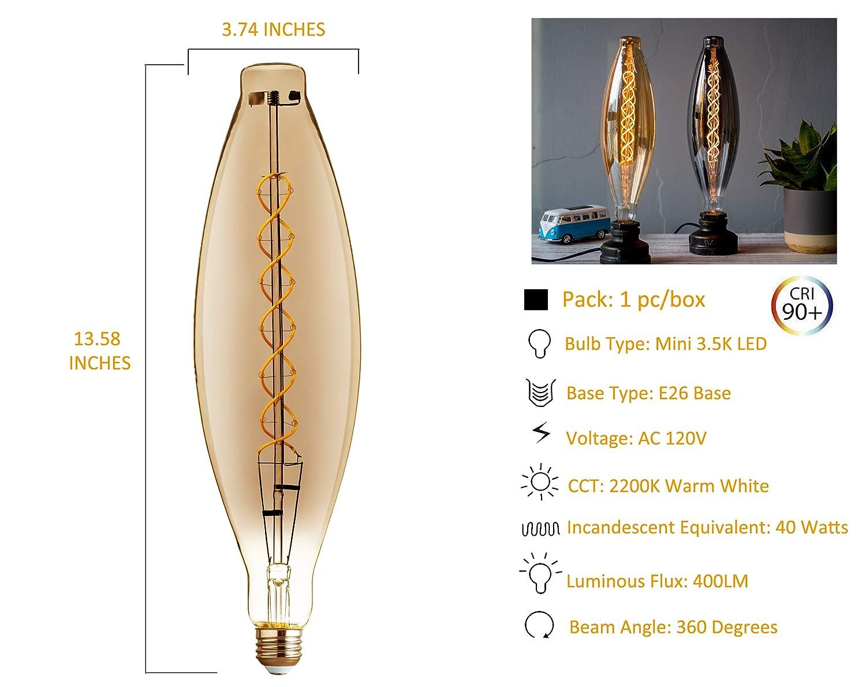 FLSNT LED Decorative Oversized Edison Bulbs,Dimmable BT38 LED Vintage Spiral Filament Light Bulbs,2200K Warm White Lighting,7W,180LM,E26 Medium Base,CRI90,Smoky Grey Glass Finishing