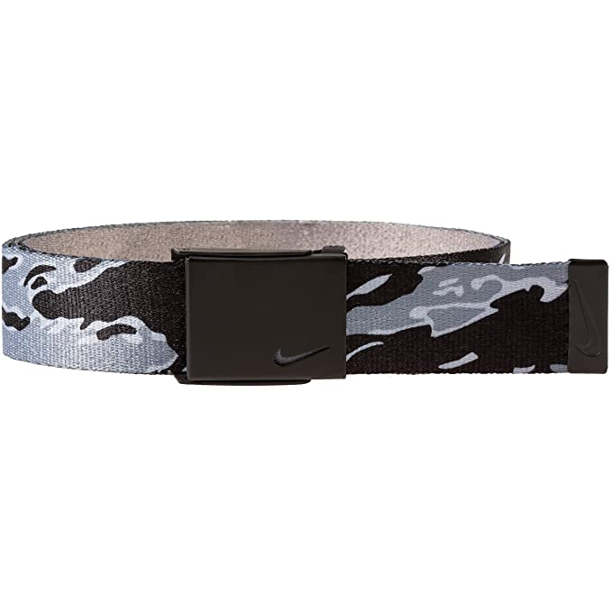 e9a408ca76 NIKE Men's New Tech Essentials Reversible Web Belt, Black camo/Grey, ...
