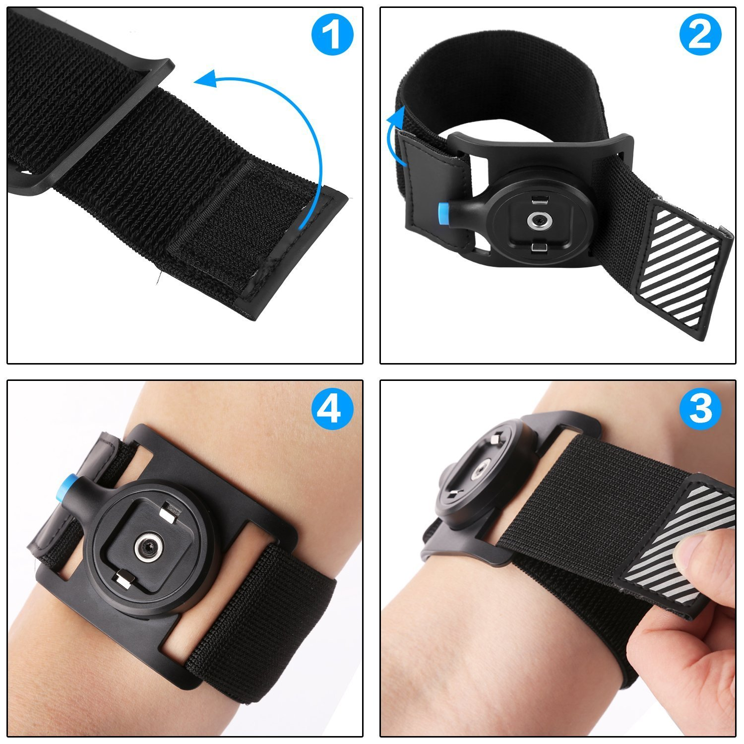Sports Armhand, Foison,Quick Mount Universal Belt Clip with Magnet and Buckle Lock, Lightweight and Shake-proof Gym Arm Bag, Universal Compatibility Phone Armband (Blue)