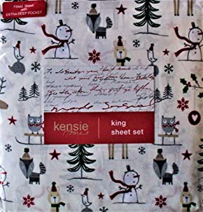 Kensie Home King Sheet Set Woodland Animals Snowmen Fox Bird Hedgehog Design