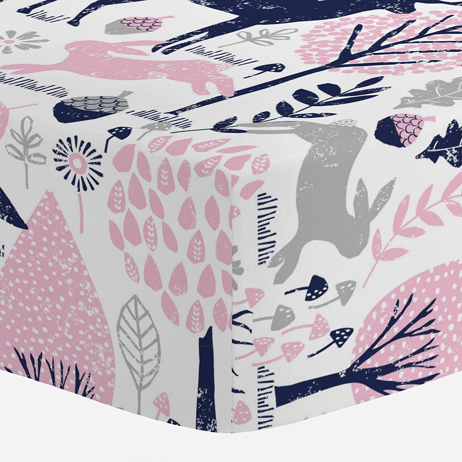 Carousel Designs Bubblegum Pink and Navy Woodland Animals Crib Sheet - Organic 100% Cotton Fitted Crib Sheet - Made in The USA