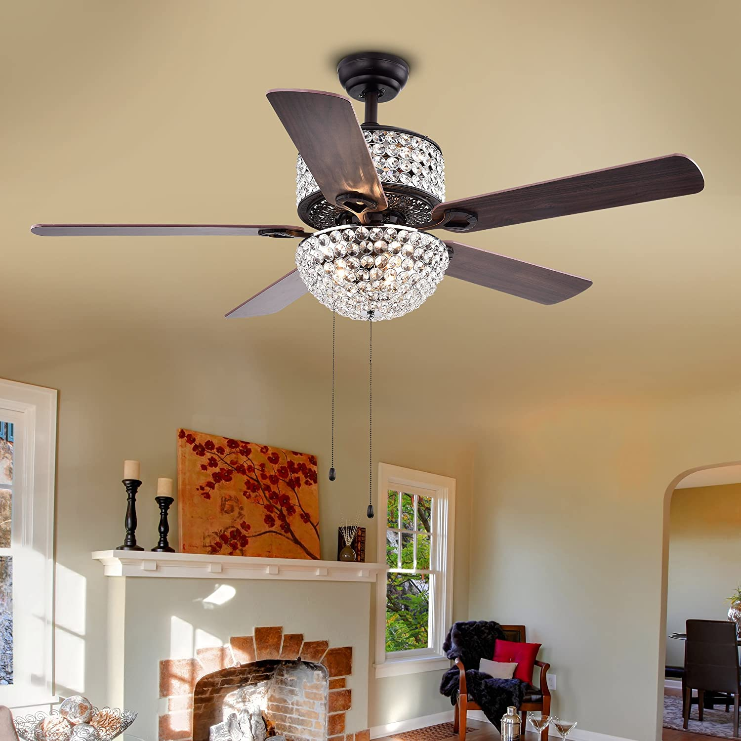 Warehouse of Tiffany CFL-8170BL Laure Crystal 6-Light 52-inch Ceiling Fan 52 W x 52 L x 20 H Multicolor
