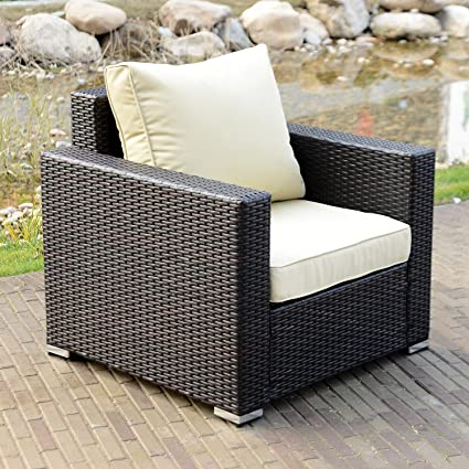 amazon com walcut single outdoor wicker chair with cushions all