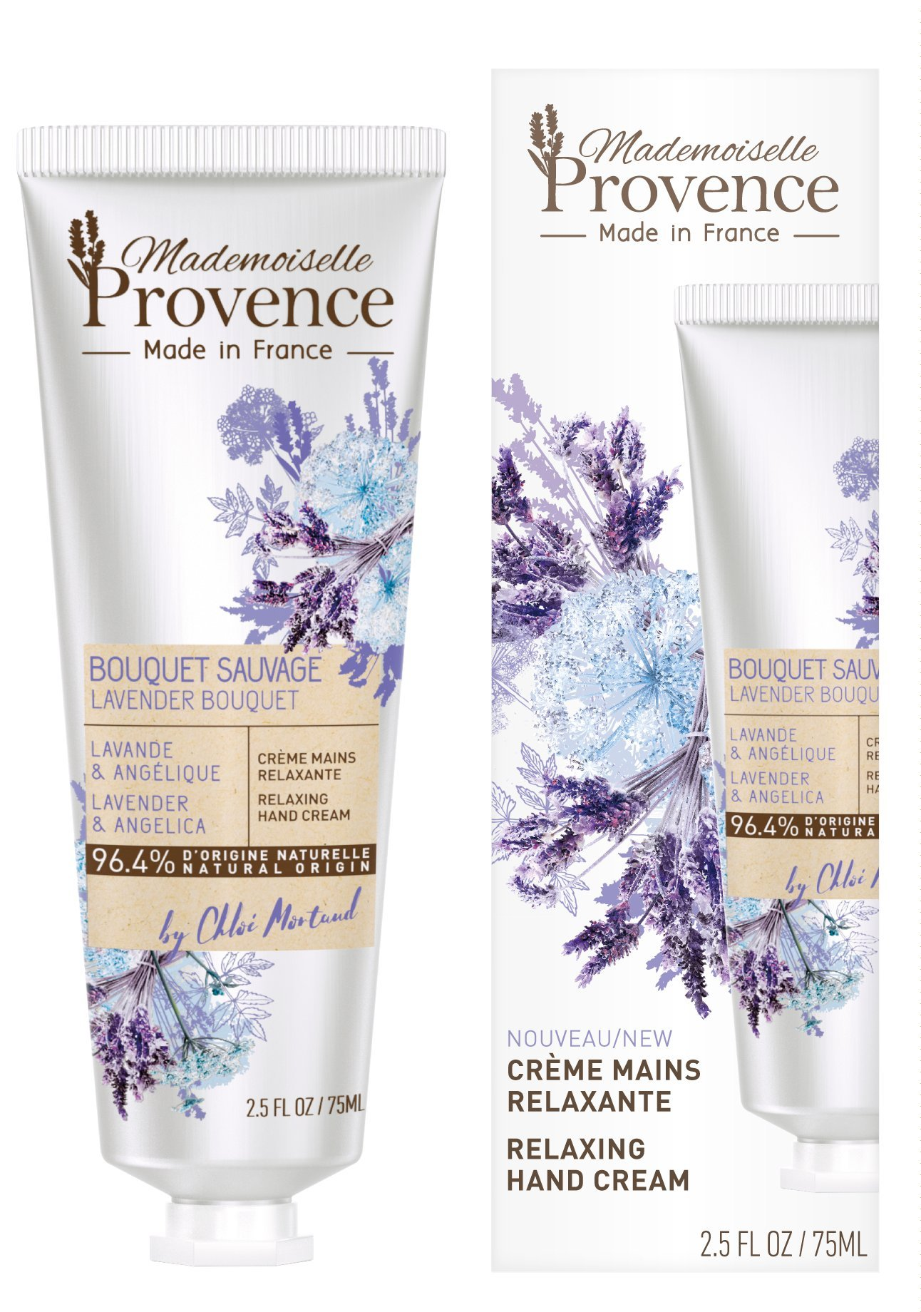 Natural Lavender Hand Cream Moisturizer - Mademoiselle Provence - Non Greasy, Soft & Relaxing Lotion - Shea Butter & Angelica extracts -100% Made in France - 2.5 Fl Oz