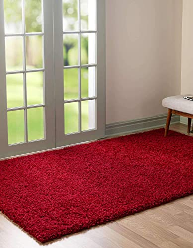 Unique Loom Solo Solid Shag Collection Modern Plush Cherry Red Area Rug 5' 0 x 8' 0