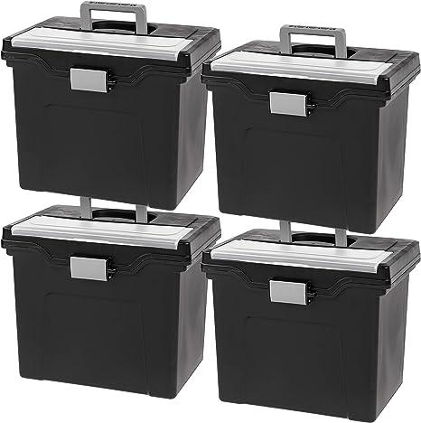Medium Inc HFB-41 BLK//LT GRY 4PK IRIS Slim Letter//Legal Size Portable File Box IRIS USA Black