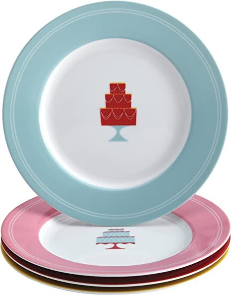 Amazon Com Cake Boss Serveware Dessert Plate Set 4 Piece Print Kitchen Dining