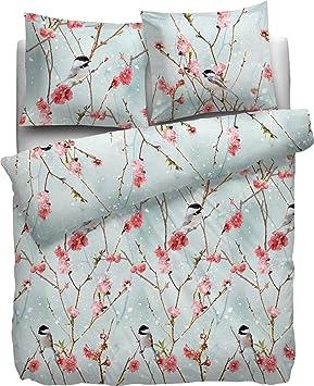 HnL Flanell Bettwäsche Taurus Blumen Vögel Blau Weiß 135x200 cm 100/% Baumwolle