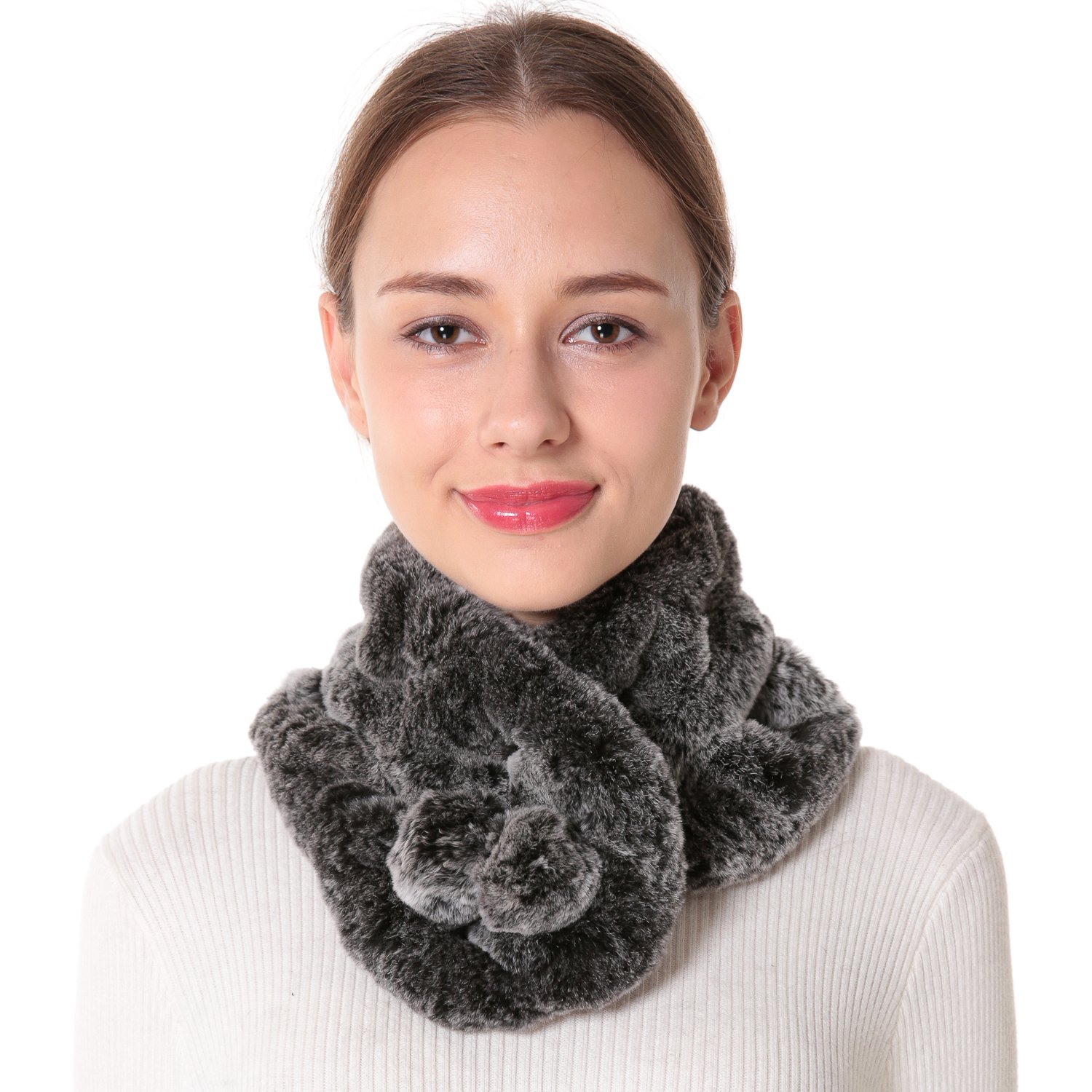 Nice Glory Women's Rex Rabbit Fur Neck Warmer and Scarf Grey Snow-top.