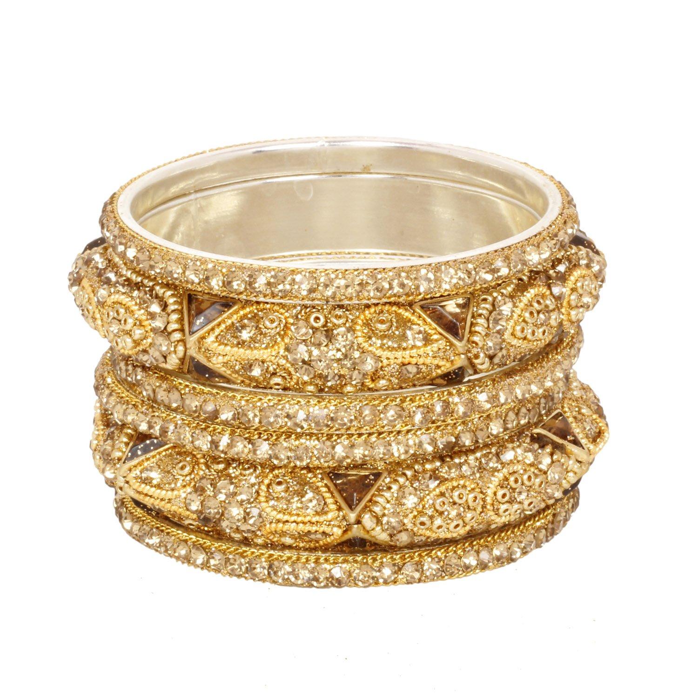 Ratna Ethnic Fully Golden Bangles Set Traditional Gold Plated Lct Wedding Bangle Jewelry Set (2.8)