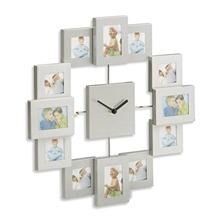 Relaxdays Wall Clock with Picture Frames, Photo Clock for DIY ...