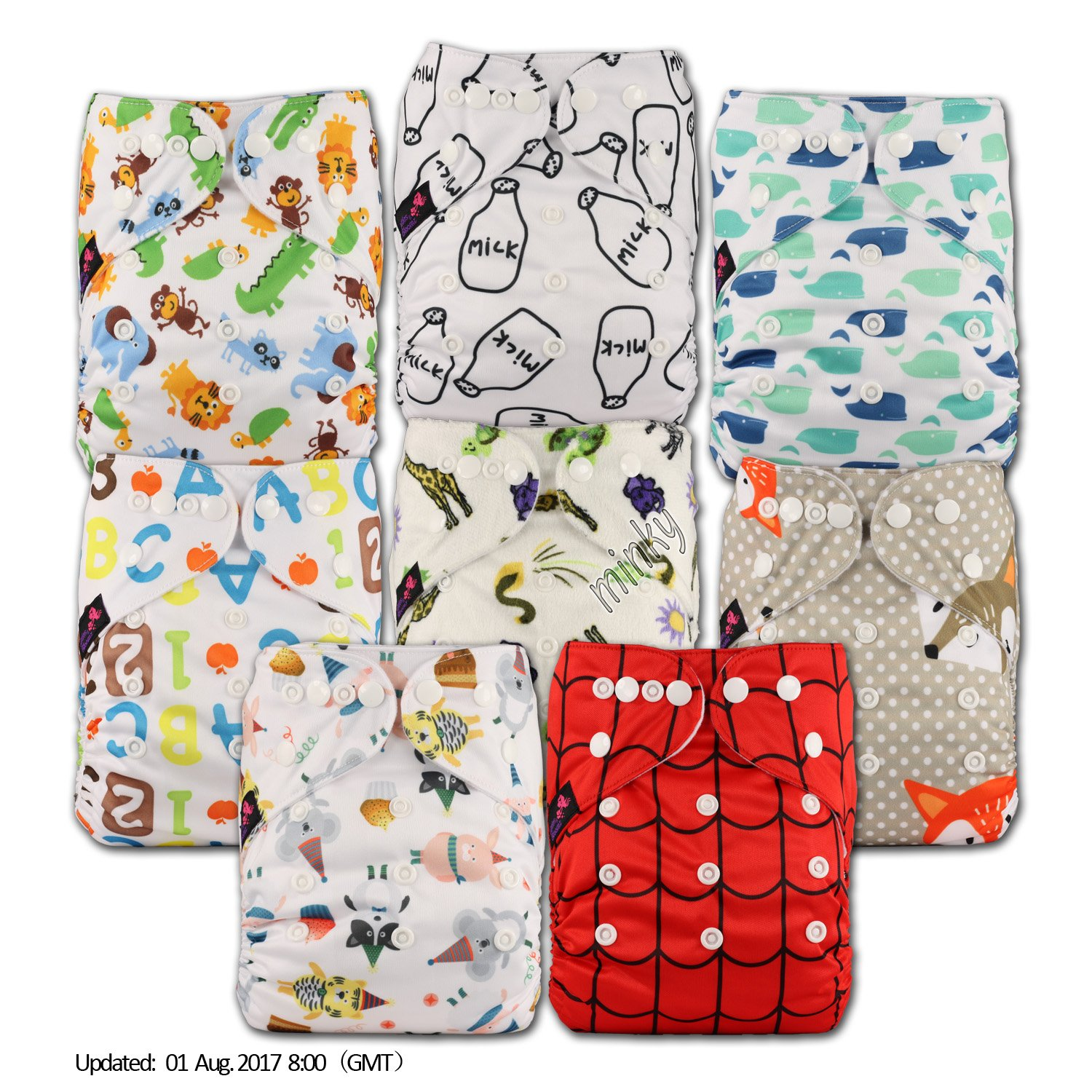 Littles & Bloomz, Reusable Pocket Cloth Nappy, Fastener: Popper, Set of 8, Patterns 815, With 8 Bamboo Inserts