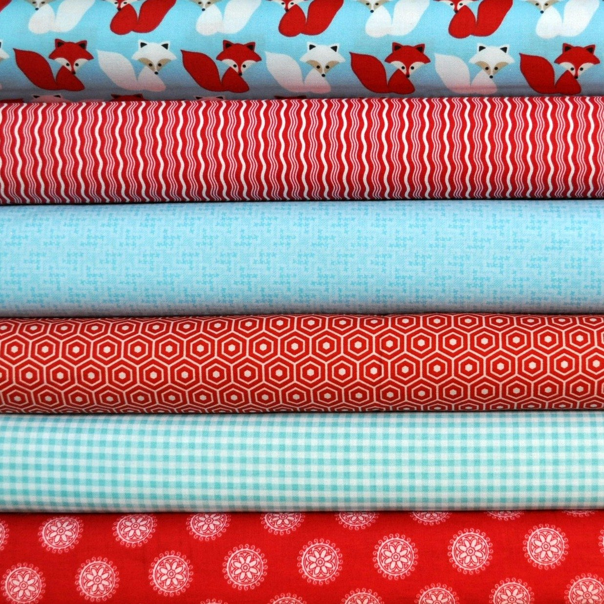 Woodland Pals 2 Blue Foxes 6 Fat Quarters Bundle by Mixed Designers, 1 1/2 yards total Mixed manufacturers