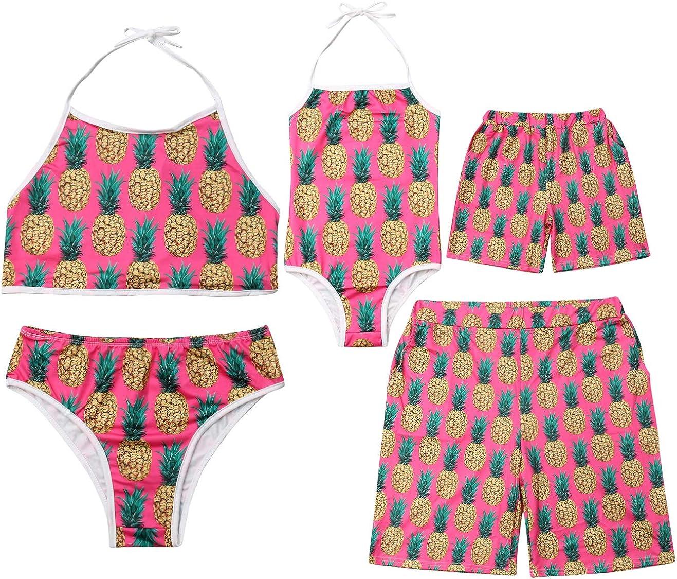Family Matching Pineapple Print Bathing Suit Mom/&Girl Spaghetti Straps Halter Neck Swimsuit Dad/&Boy Swim Trunks