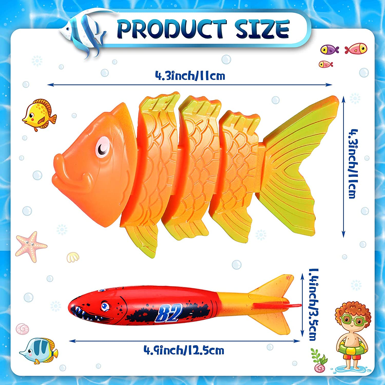 Skylety 7 Pieces Diving Toy Set Diving Torpedos and Sinking Fish Underwater Sinking Swimming Pool Toy for Boys and Girls Playset Present Party Favor