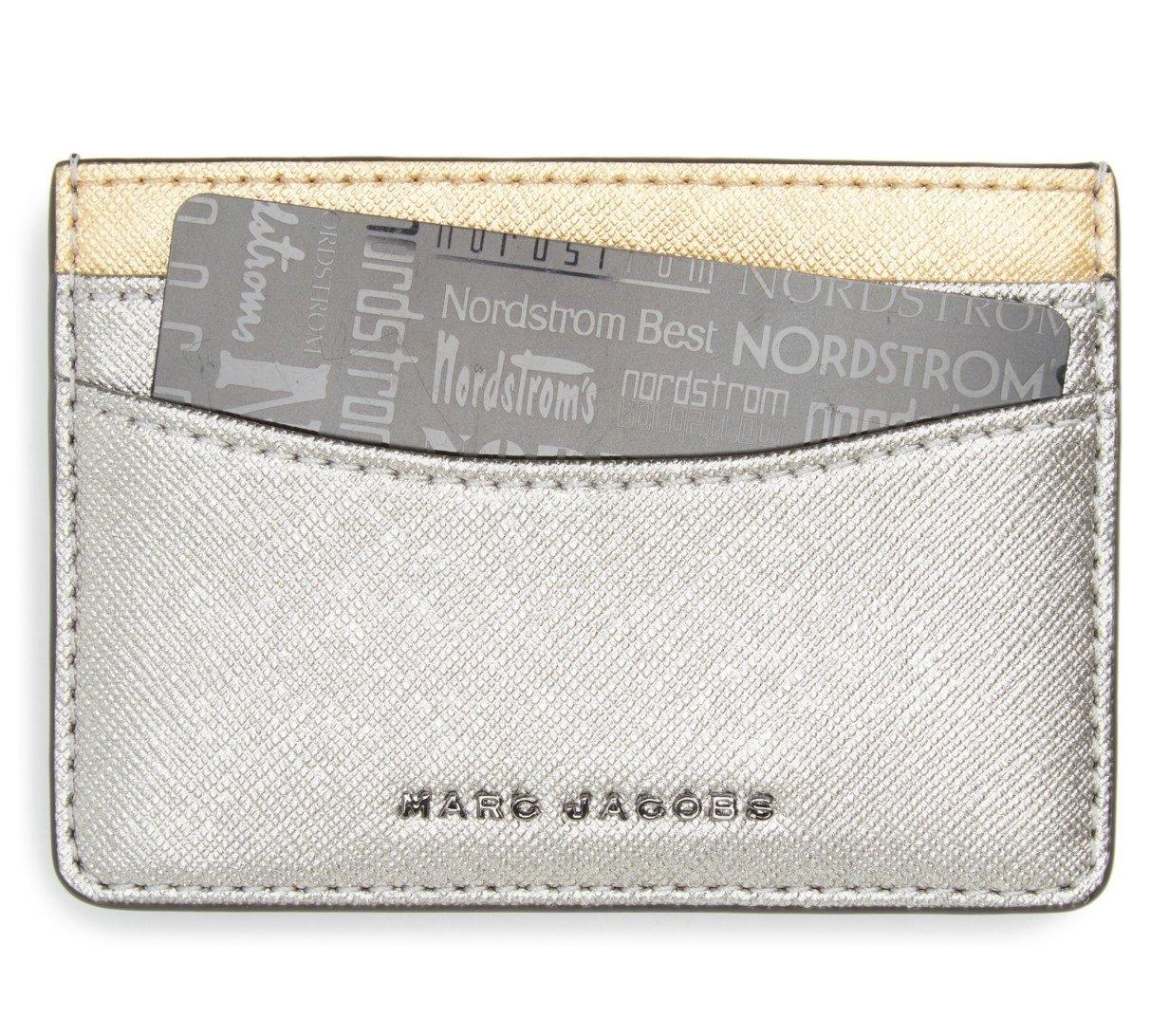 Marc Jacobs Women's Saffiano Tricolor Metallic Card Case Acciaio Handbag