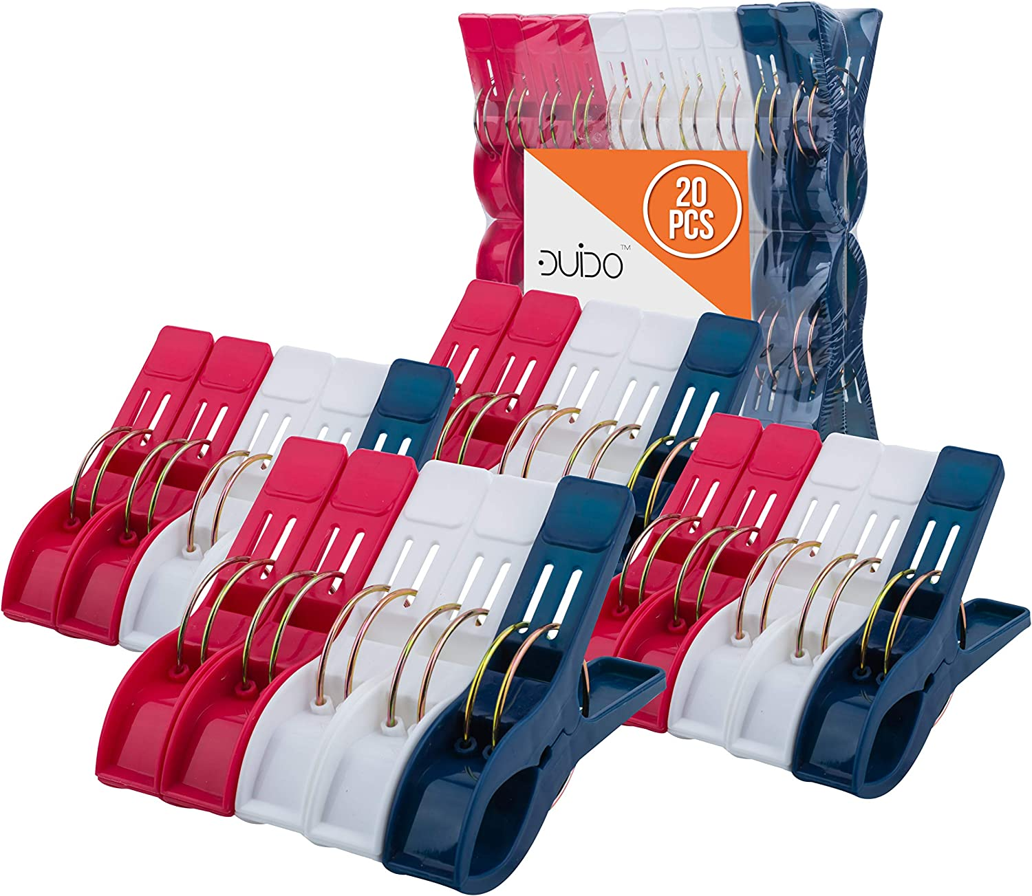 Beach Chair Towel Clips Clamps - 20 Pack Pool Towel Holder and Large Plastic Clamp - Red, White and Blue Jumbo Clothespins and Towel Pegs - Heavy Duty Clips for Laundry, Beach, Pool or Cruise Ships