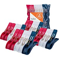 Beach Chair Towel Clips Clamps – 20 Pack Pool Towel Holder and Large Plastic Clamp – Red, White and Blue Jumbo Clothespins and Towel Pegs – Heavy Duty Clips for Laundry, Beach, Pool or Cruise Ships