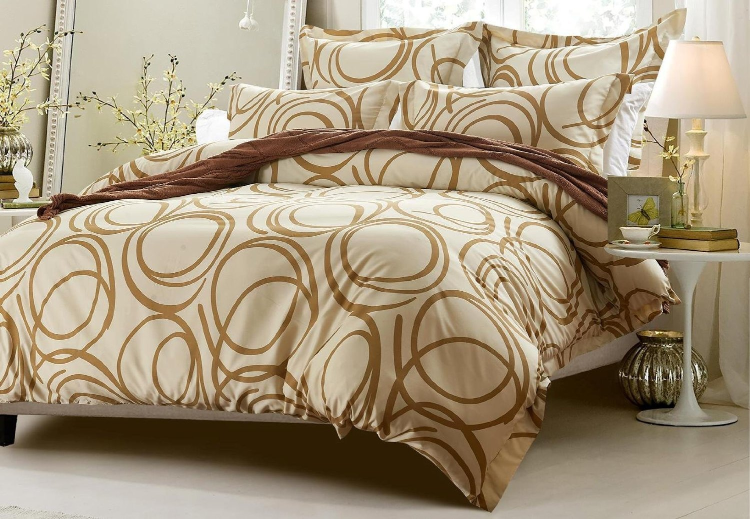 6pc Circle Design Beige Bedding Set