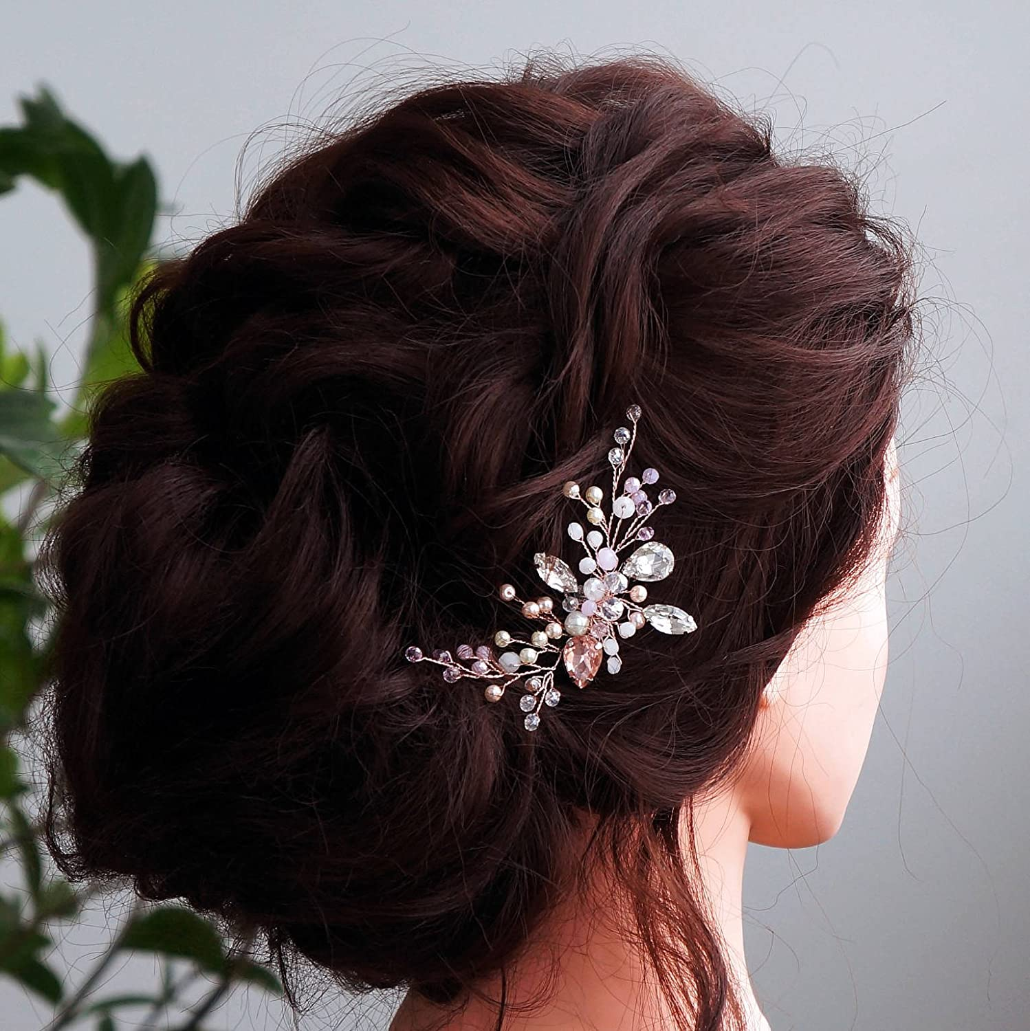 Kercisbeauty Wedding Bridal Bridesmaids Flower Girl Pink Crystal Beads and Rhinestone Tiny Cute Hair Comb Slides Headpiece Long Curly Bun Hair Accessories for Prom(Rose Gold)