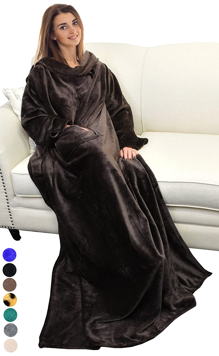 """Catalonia Wearable Blanket with Sleeves and Pocket, Comfy Soft Fleece Mink Micro Plush Wrap Throws Blanket Robe for Women and Men 73"""" x 51"""""""