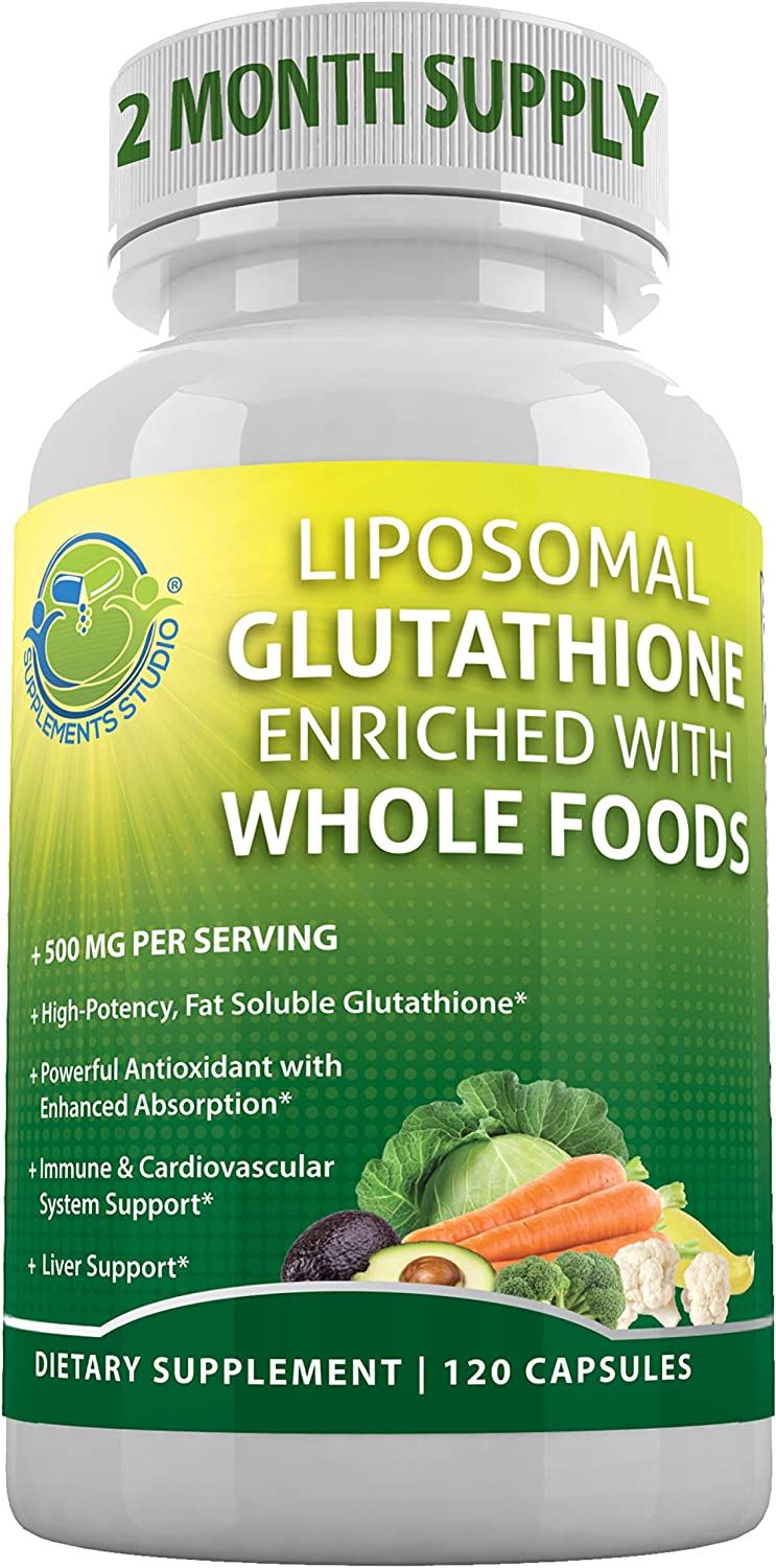 LIPOSOMAL GLUTATHIONE Enriched with Whole Foods 500mg-per Serving, Master Antioxidant, Anti-Aging, Immune & Cardiovascular System Support, Brain Function and Liver Detox,120 Capsules-2 Month Supply