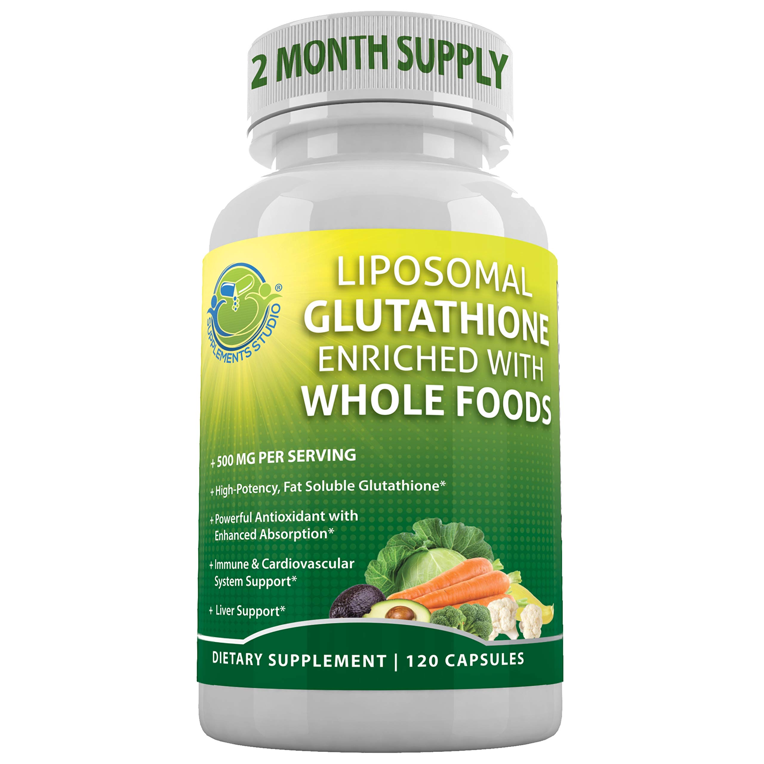 Supplements Studio Liposomal Glutathione 500mg, with Whole Foods, Master Antioxidant, Immune & Cardiovascular System Support, Brain Function, Liver Detox, Vegan, Gluten-Free, Non-GMO, 120 Capsules