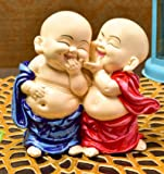 Karigaari India Handcrafted Resine Little Laughing Buddha Monk Sculpture | Showpiece for Home Décor and Office