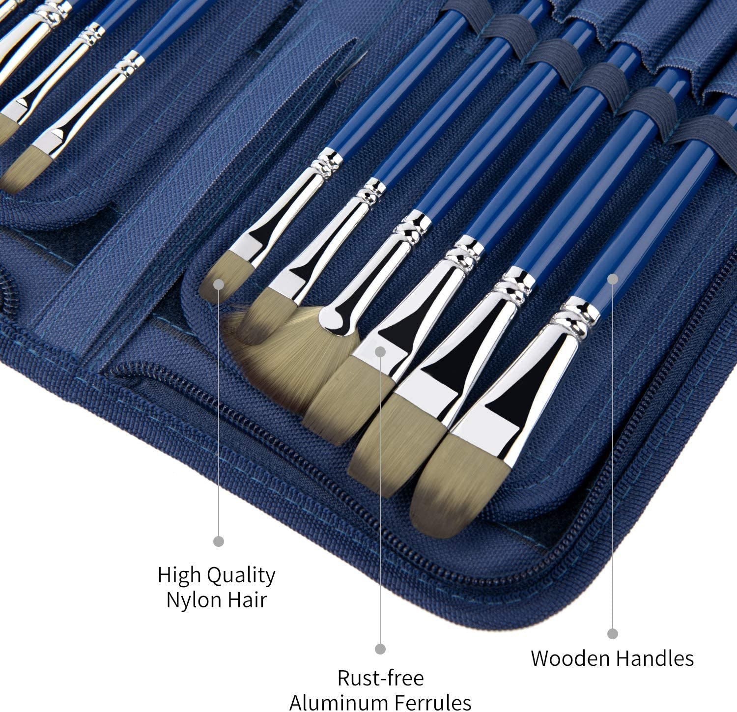Different Sizes Multi-functionial Brushes Shape for Watercolor Oil Acrylic Gouache Painting,Nice Gift for Artists Adults /& Kids 15 PCS Artist Paint Brush Set