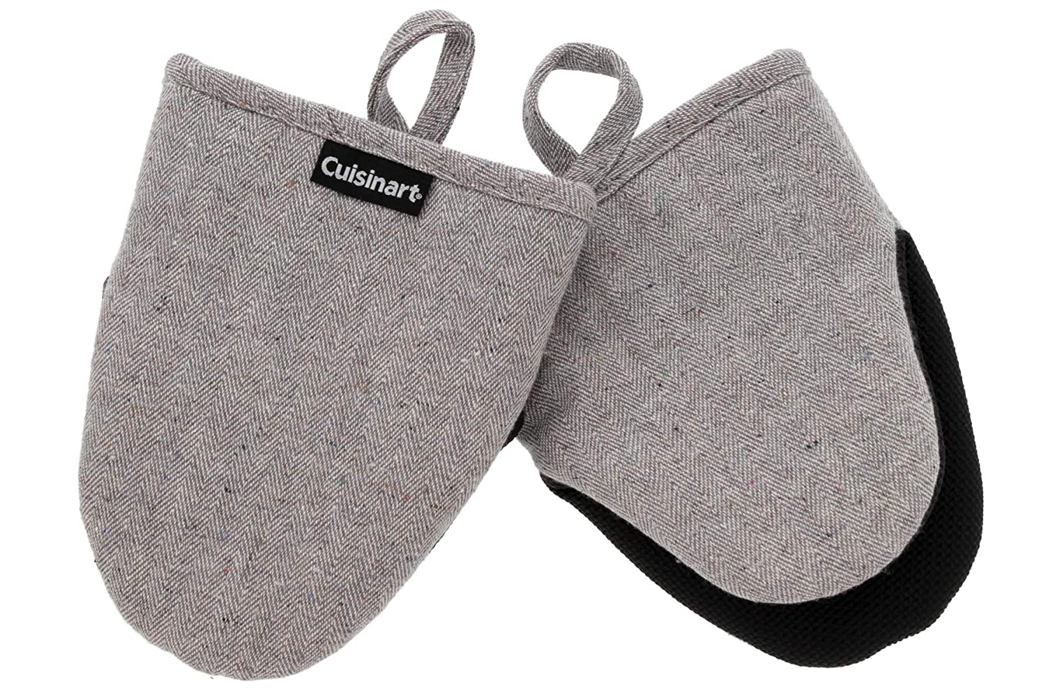 Cuisinart Oven Mitts, 2pk - Heat Resistant Oven Gloves to Protect Hands and Surfaces with Non-Slip Grip and Hanging Loop - Ideal Set for Handling Hot Cookware, Bakeware – Chevron, Grey