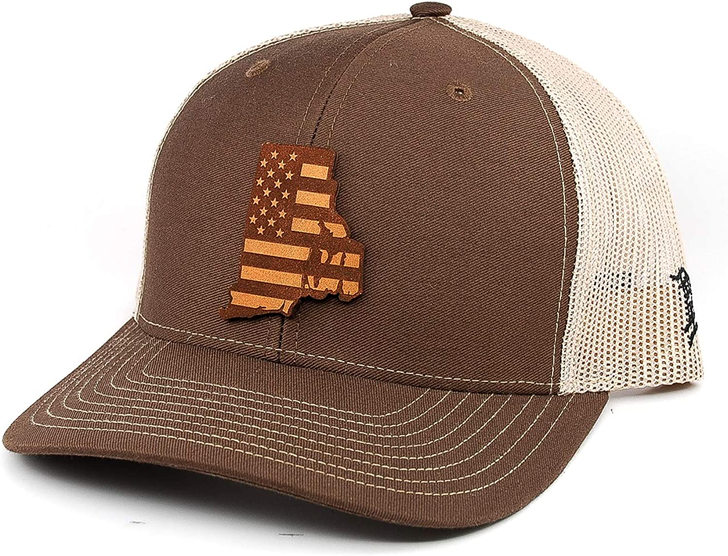 Branded Bills /'Rhode Island Patriot/' Leather Patch Hat Curved Trucker OSFA//Brown//Tan