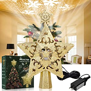 ACMETOP Gold Star Christmas Tree Topper, Christmas Star Tree Topper with Rotating LED Snowflake Projector Light, Perfect for Christmas Tree Decoration, Romantic Home Decoration, Ideal Gifts