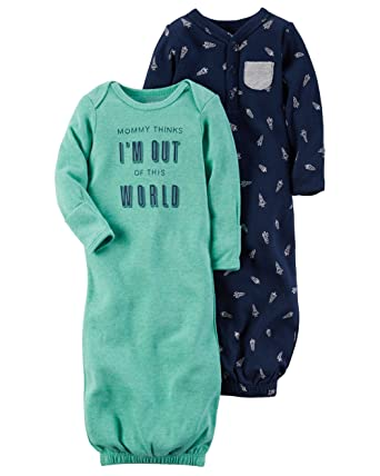 Amazon Com Carter S Baby Boys 2 Pack Out Of This World Gowns One