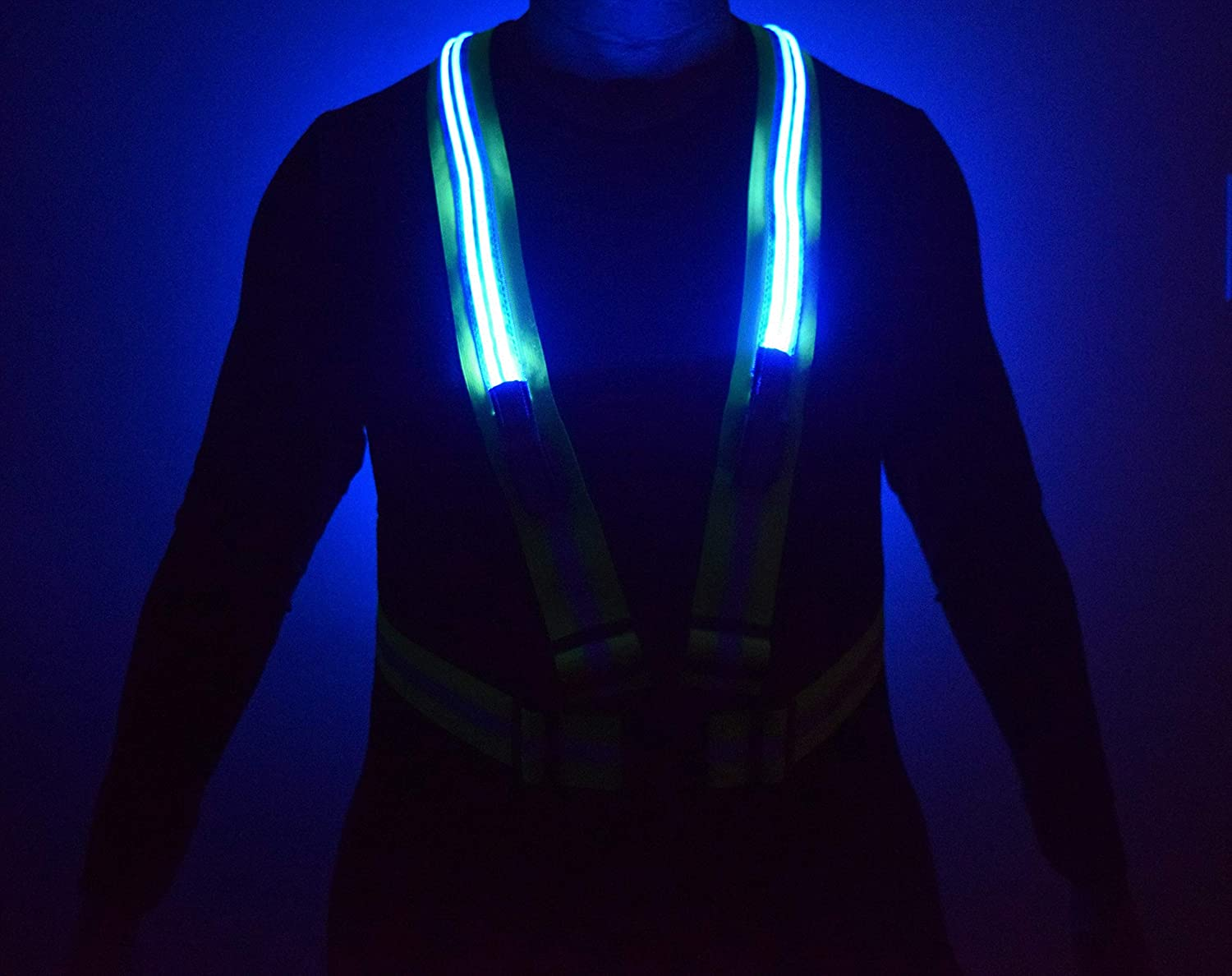 Cycling Ricky Aubrey Adjustable Straps in Waist and Shoulders Lightweight for Running Walking and Construction Safety Vest with Highly Visible Yellow Double LED Flashing Lights
