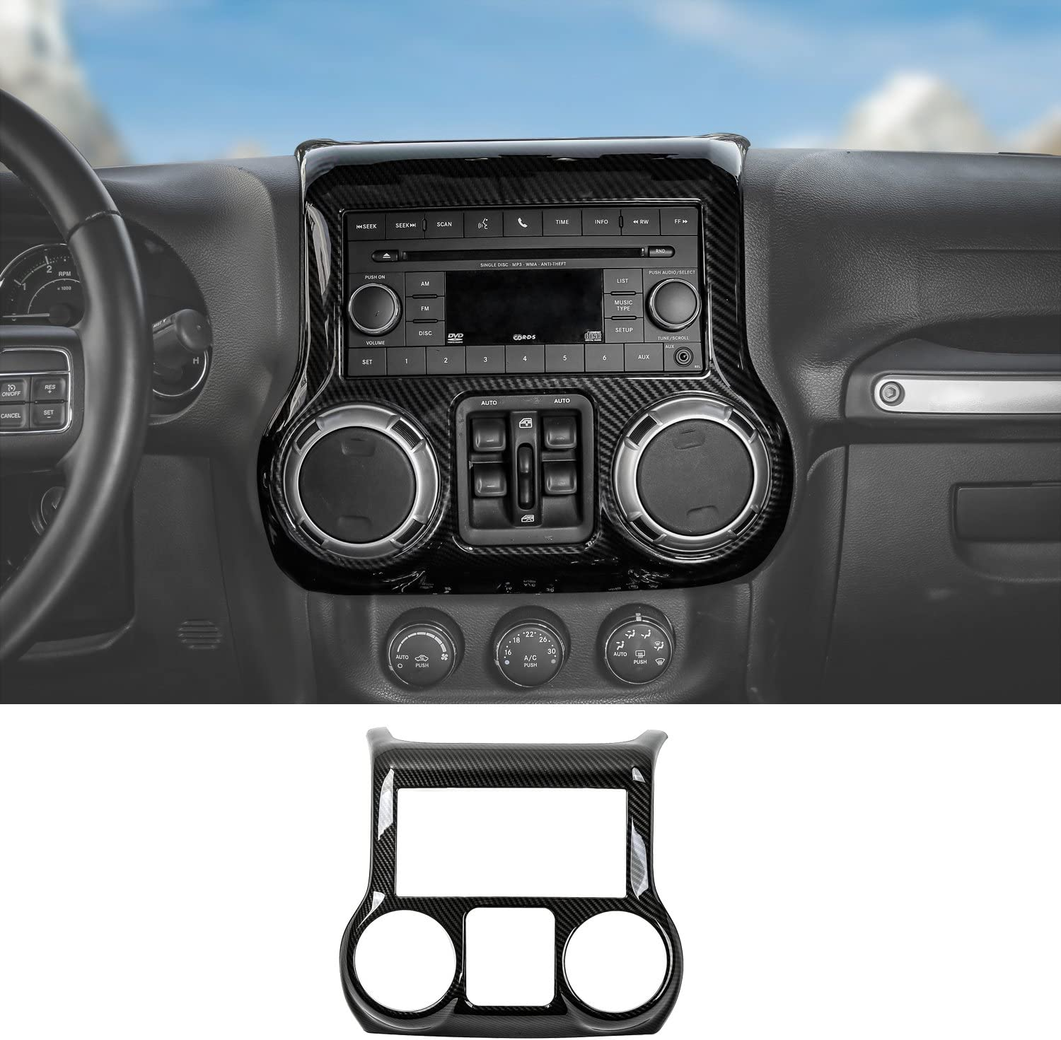 Silver RT-TCZ Car Interior Center Console Dashboard Panel /& Air Conditioning Switch Panel Frame Cover Trims for Jeep Wrangler 2011-2017