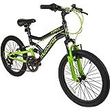 "20"" Boys Dual Suspension Mountain Bike in Black and Green Childrens Muddyfox Force"