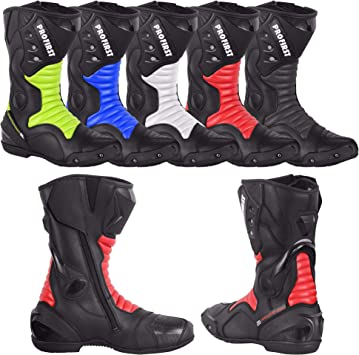 EU 44 PROFIRST Split Leather Motorcycle Boots Waterproof Motorbike Shoes Armoured Boot Protection Anti Slip Racing Sports UK 10 Red /& Black