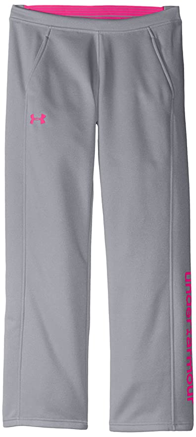 84187e202 Under Armour Women's Armour Fleece Pants, True Gray Heather /Rebel Pink, Youth  Large