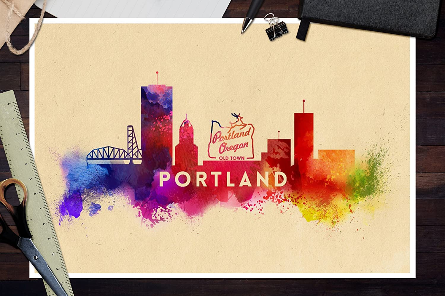Amazon.com: Portland, Oregon - Skyline Abstract (12x18 Art Print ...