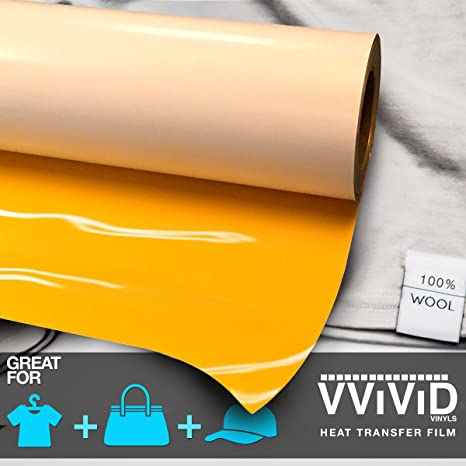 Yellow Heat Transfer Vinyl Roll Heat Press Iron-on HTV for T-Shirts 12 Inches x