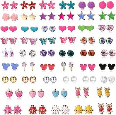 Lot de 12 paires boucles doreilles pour enfant fille licorne strass boules fleur bijoux doreille