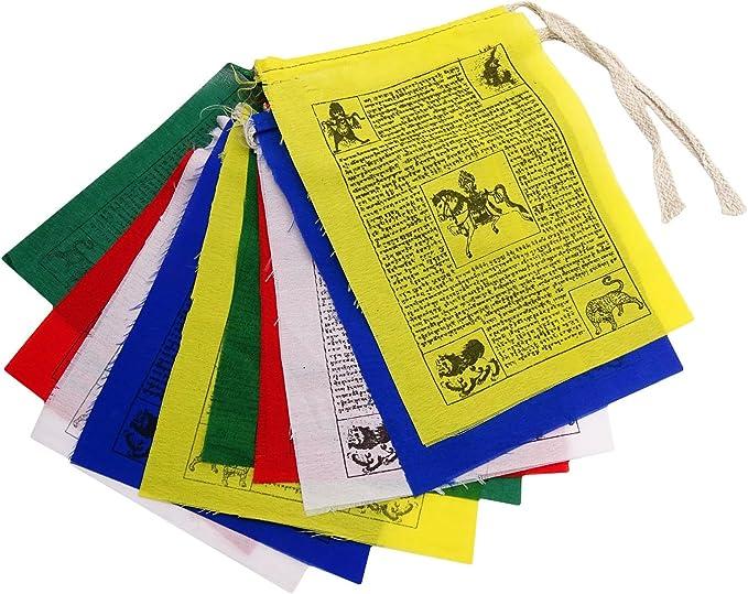 Indianbeautifulart Multicolores Banderas Tibetanas De Oración Budista Bandera Tradicional De Algodón 1 Rollo: Amazon.es: Hogar