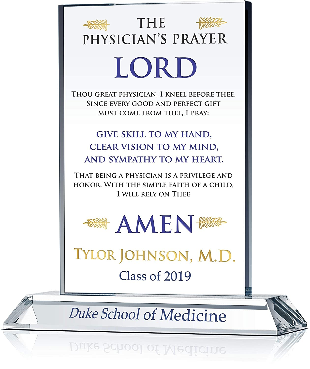 Personalized Physician's Prayer Christian Medical School Graduation Gift  Plaque Customized for Son, Daughter, Boyfriend, Girlfriend, Brother,  Sister,