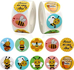 1200 Pieces Honey Bee Stickers Roll Bumble Bee Sticker Labels for Bee Theme Party Classroom Rewards Birthday Party Baby Shower Decor, 1.5 Inch
